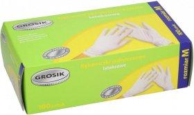 Rękawiczki lateksowe cienkie Grosik, rozmiar M, 100 sztuk, biały