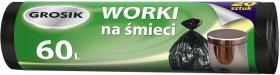 Worki na śmieci Grosik, HD, 60l, 20 sztuk, czarny