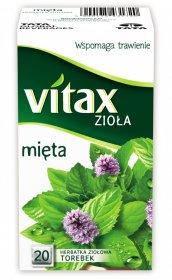 Herbata ziołowa w torebkach Vitax Zioła, mięta, 20 sztuk x 1.5g