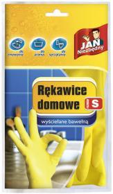 Rękawice lateksowe domowe Jan Niezbędny, wyściełane bawełną, rozmiar S, 1 para, żółty