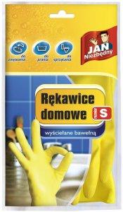 Rękawice gumowe domowe Jan Niezbędny, wyściełane bawełną, rozmiar S, 1 para, mix kolorów (c)
