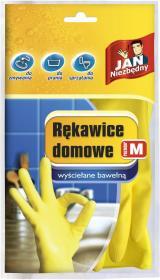 Rękawice lateksowe domowe Jan Niezbędny, wyściełane bawełną, rozmiar M, 1 para, żółty