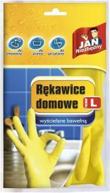 Rękawice lateksowe domowe Jan Niezbędny, wyściełane bawełną , rozmiar L, 1 para, żółty