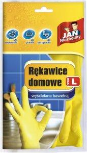 Rękawice gumowe domowe Jan Niezbędny, wyściełane bawełną, rozmiar L, 1 para, mix kolorów (c)