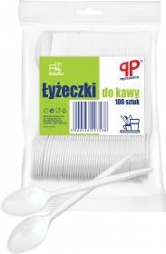 Łyżeczki jednorazowe do kawy PP Professional, plastik, 100 sztuk, biały