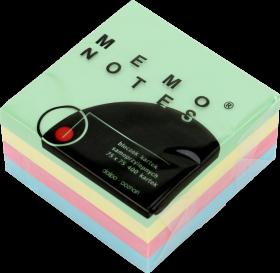 Notes samoprzylepny Dalpo Memo Notes, 75x75 mm, 400 karteczek, mix kolorów pastelowych