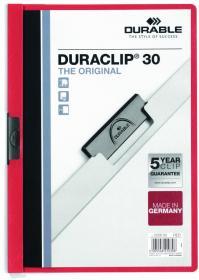 Skoroszyt plastikowy z klipsem Durable Duraclip, A4, do 30 kartek czerwony