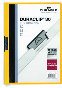 Skoroszyt plastikowy z klipsem Durable Duraclip, A4, do 30 kartek, żółty