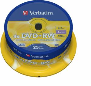 Płyta DVD+RW Verbatim, do wielokrotnego zapisu, 4.7 GB, cake box, 25 sztuk