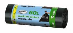 Worki na śmieci supergrube Grosik, LD, 60l, 60x75cm, 10 sztuk, czarny
