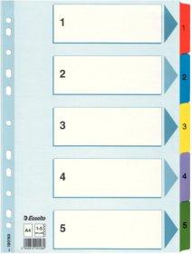 Przekładki kartonowe numeryczne z kolorowymi indeksami Esselte Mylar, A4, 1-5 kart, mix kolorów