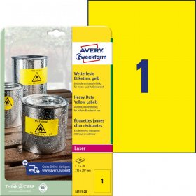 Etykiety specjalistyczne Avery Zweckform Heavy Duty, A4, 210x297mm, 20 arkuszy, żółty