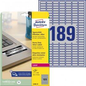 Etykiety znamionowe Avery Zweckform, 25.4x10mm, 20 arkuszy, srebrny