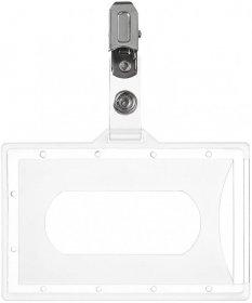 Holder do identyfikatorów Argo, z klipsem, 90x56mm, przezroczysty