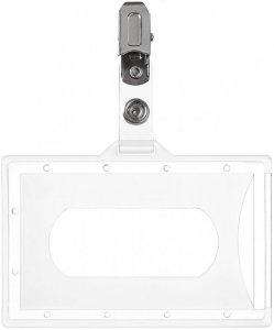 Holder do identyfikatorów Argo, z klipsem, 92x59mm, przezroczysty