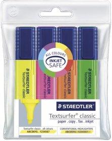Zakreślacz Staedtler S364-WP4, ścięta, 5mm, w etui, 4 sztuki, mix kolorów