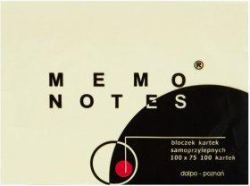 Notes samoprzylepny Dalpo Memo Notes, 100x75mm, 100 karteczek, żółty pastelowy