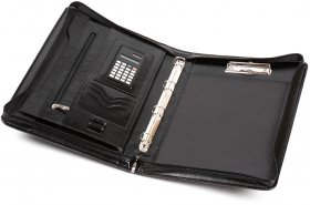 Teczka z kalkulatorem Jan-Pol, A4, skóropodobna, czarny