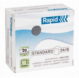 Zszywki Rapid Standard, 24/6, 5000 sztuk, srebrny