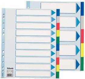 Przekładki plastikowe gładkie z kolorowymi indeksami Esselte, A4+, 10 kart, mix kolorów